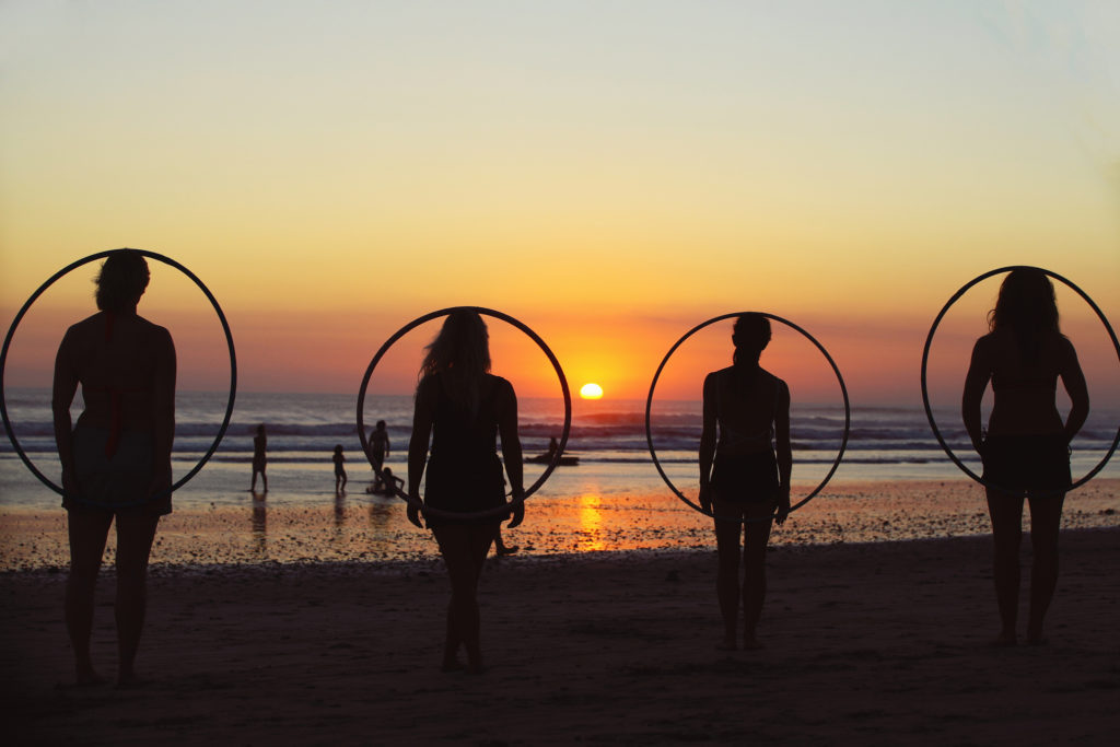 Hula hooping at sunset