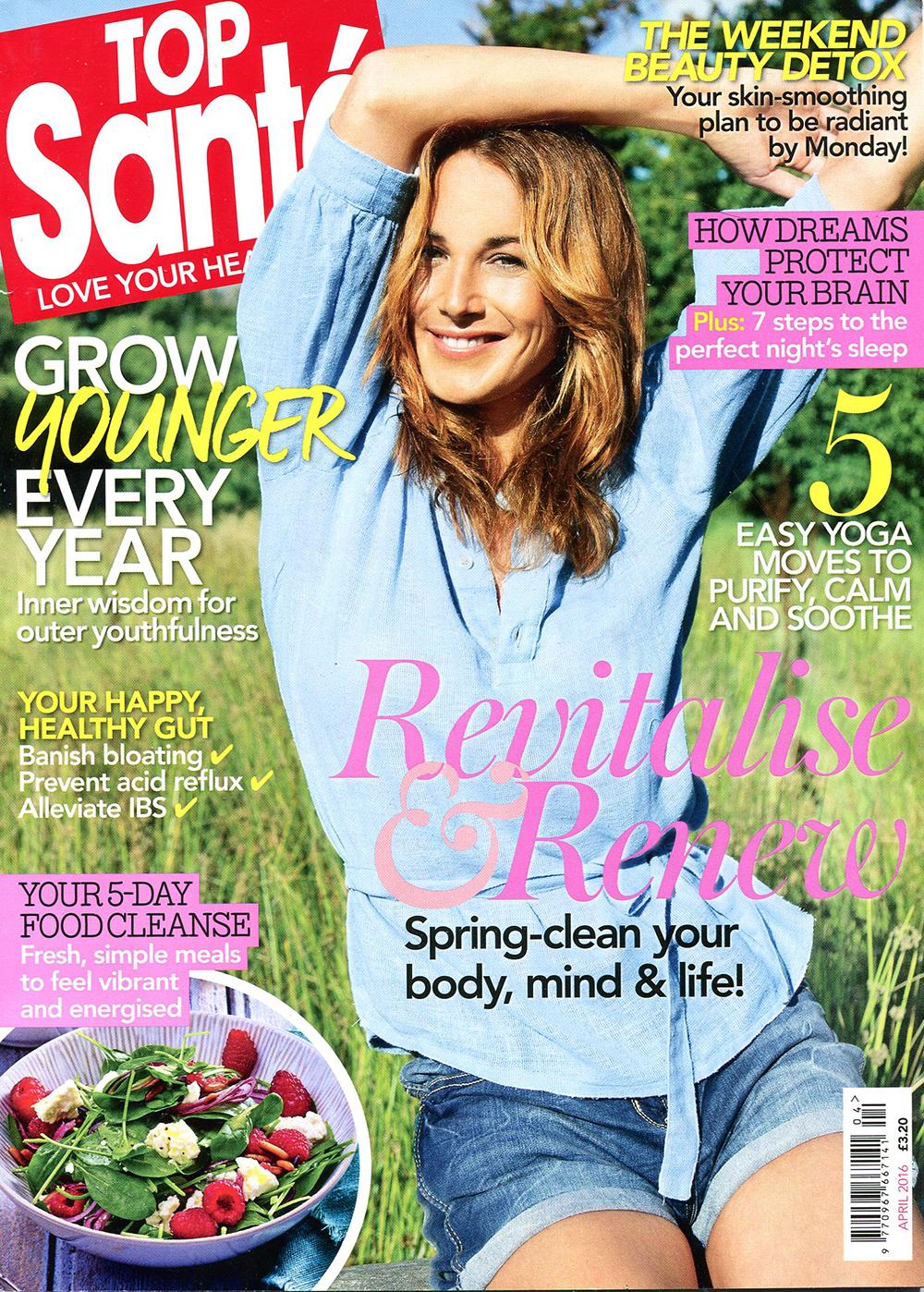 Top Sante Magazine cover featuring Surf Sistas retreats